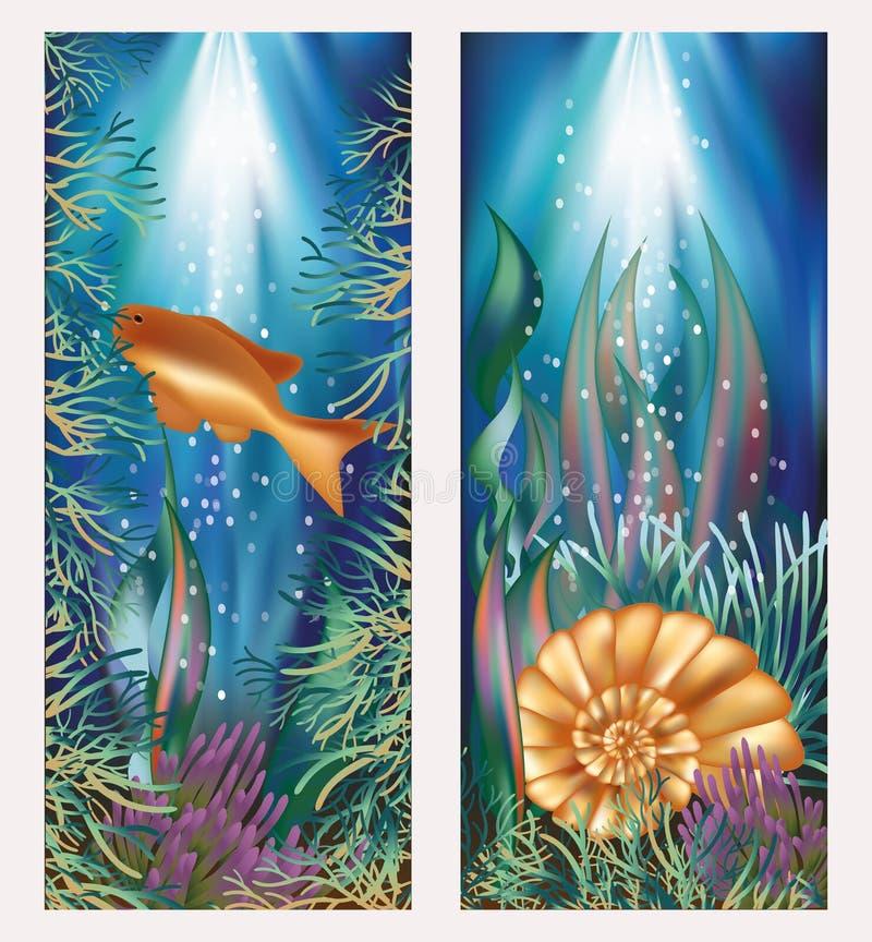 Onderwaterwereld twee banners met gouden vissen en  royalty-vrije illustratie