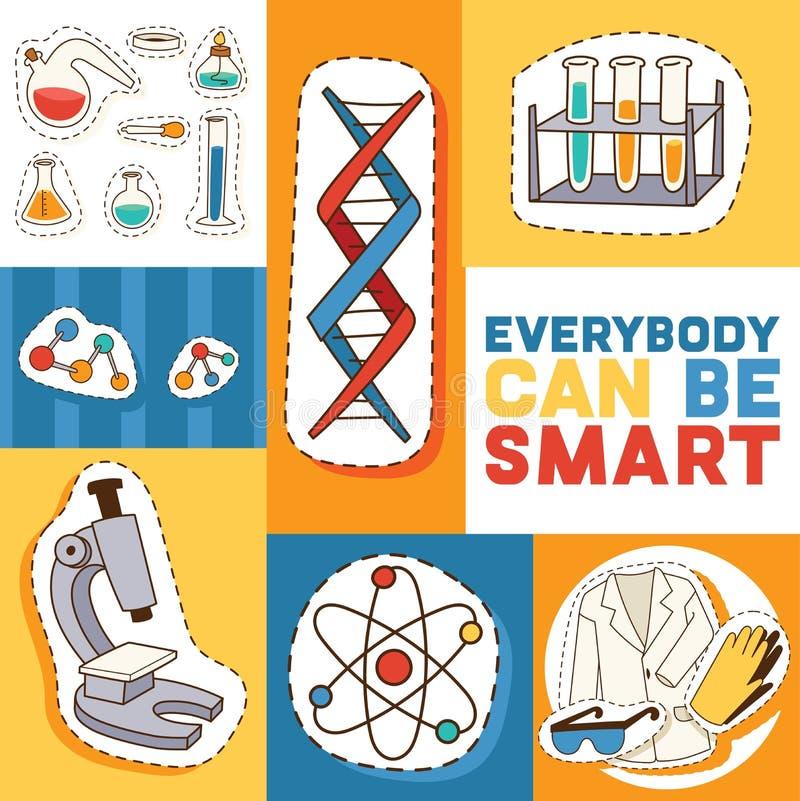 Onderwijs en de vectorillustratie van het wetenschapsconcept De Motivatngtekst, iedereen kan slim zijn Binnen doend experimenten stock illustratie