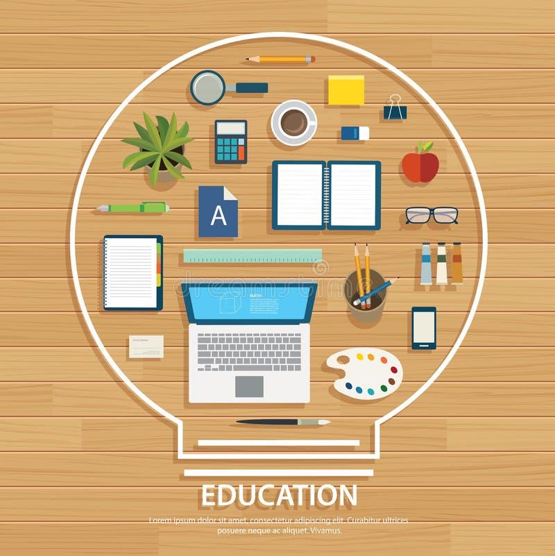 Onderwijs en het leren achtergrond op gloeilampenvorm vector illustratie