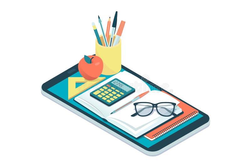 Onderwijs en het leren app stock illustratie