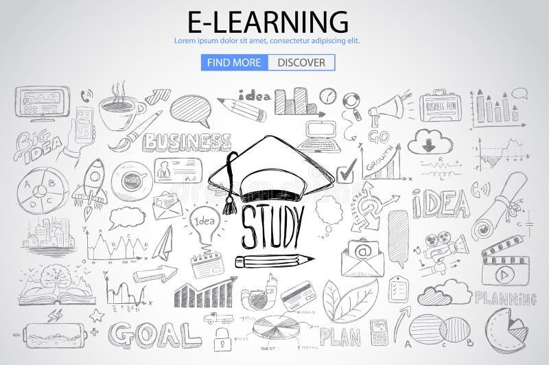 Onderwijs en het Leren concept met de stijl van het Krabbelontwerp vector illustratie