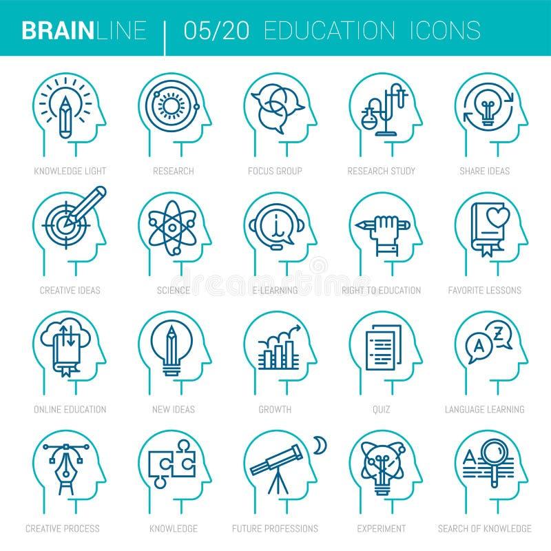 Onderwijs en het leren de Vectorpictogrammen van het Meningsproces stock illustratie