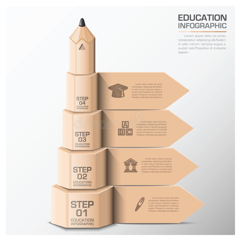 Onderwijs en het Leren Infographic met Stap van Potlood vector illustratie