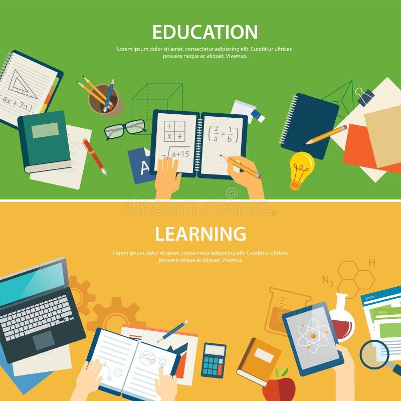 Onderwijs en het leren malplaatje van het banner het vlakke ontwerp stock illustratie