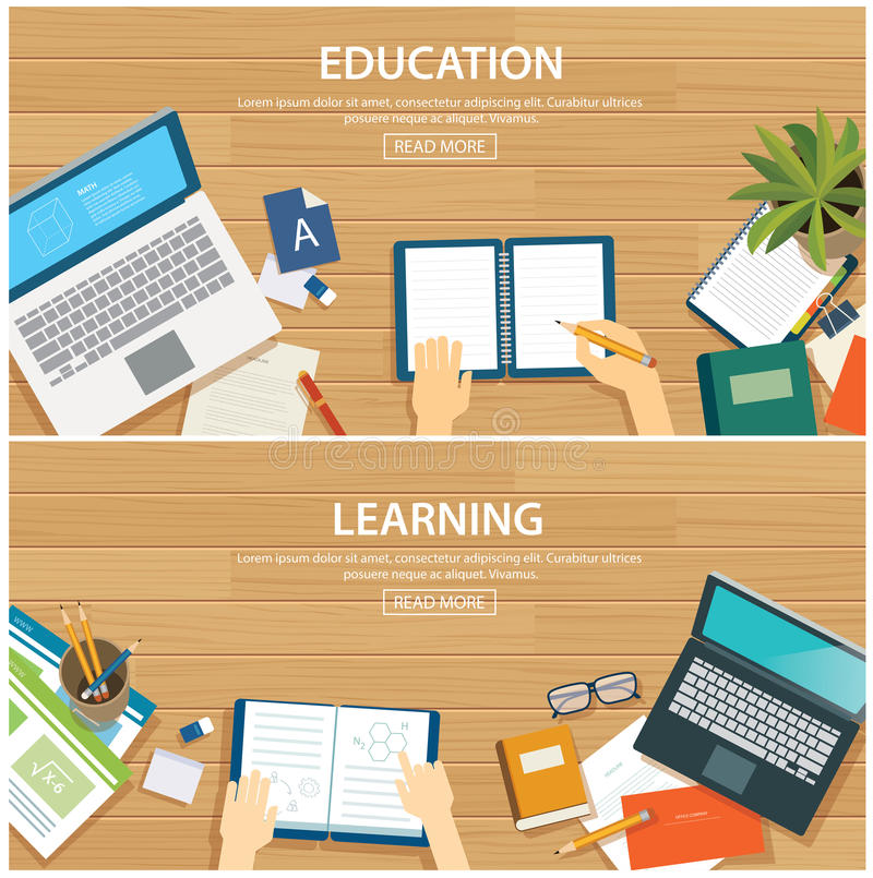 Onderwijs en het leren malplaatje van het banner het vlakke ontwerp vector illustratie