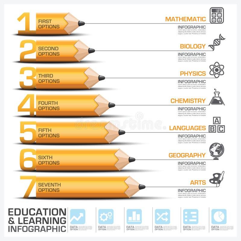 Onderwijs en het Leren Stap Infographic met Onderwerp van Potlood D stock illustratie