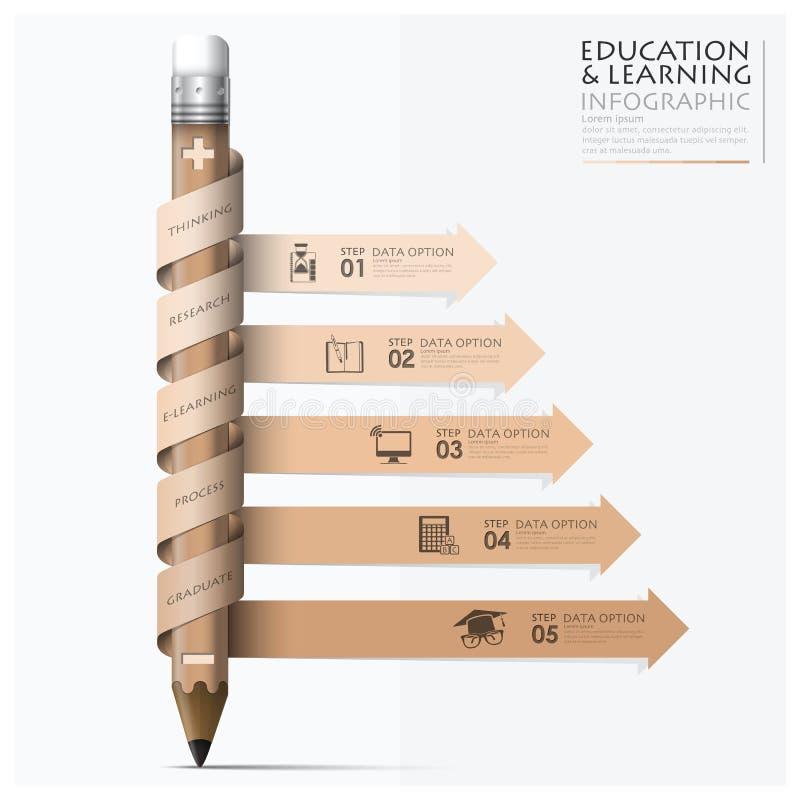 Onderwijs en het Leren Stap Infographic met Spiraalvormig Pijlpotlood royalty-vrije stock foto