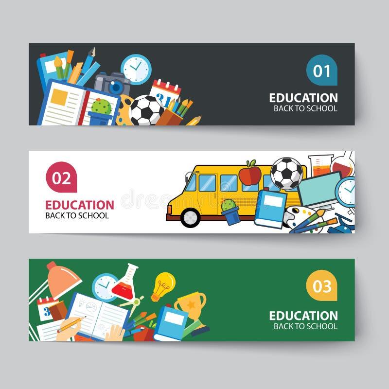 Onderwijs en terug naar het concepten vlak ontwerp van de schoolbanner vector illustratie