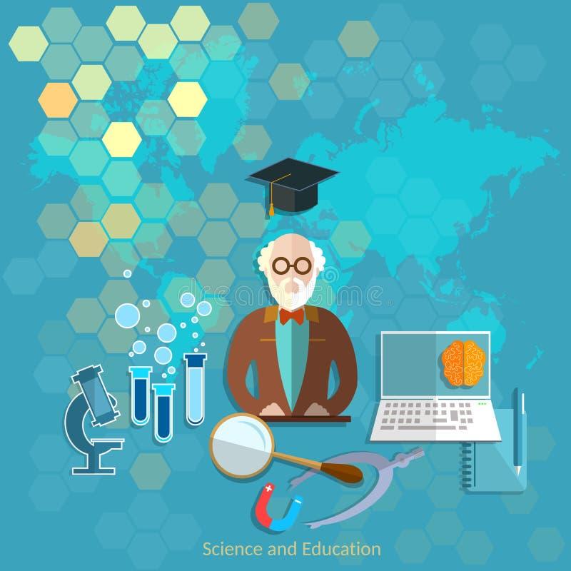 Onderwijs en wetenschaps de leraarsuniversiteit van de conceptenprofessor royalty-vrije illustratie