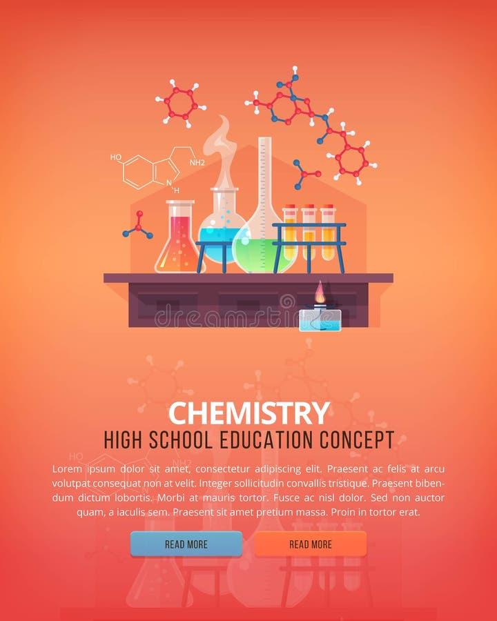 Onderwijs en wetenschapsconceptenillustraties Organische Chemie Wetenschap van het leven en oorsprong van species Vlakke vector royalty-vrije illustratie