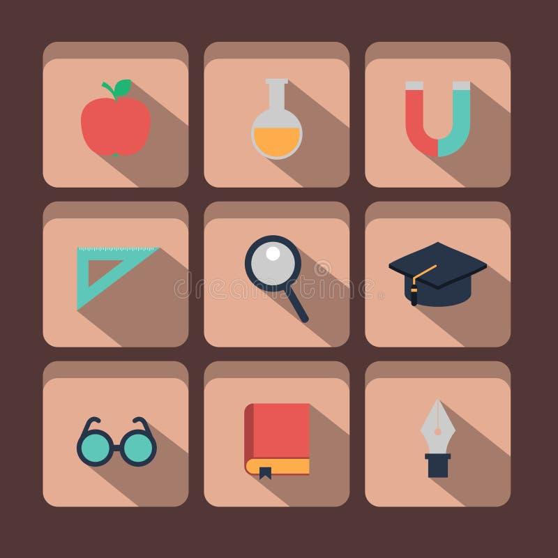 Onderwijs en Wetenschapspictogrammen stock illustratie