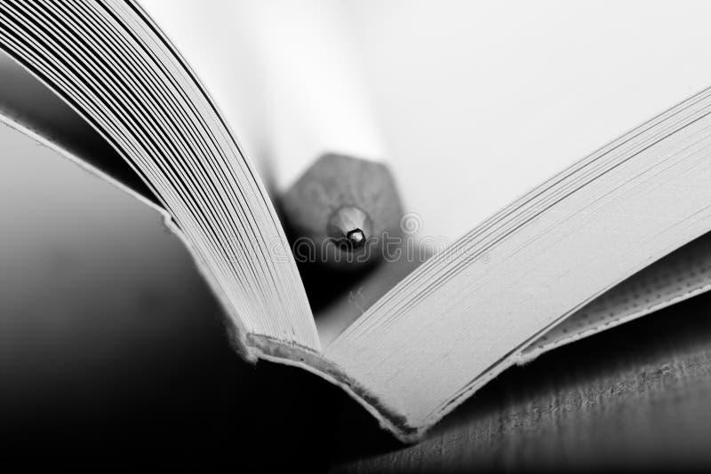 Onderwijs en wijsheidsconcept - Macromening van boek met potlood stock afbeelding