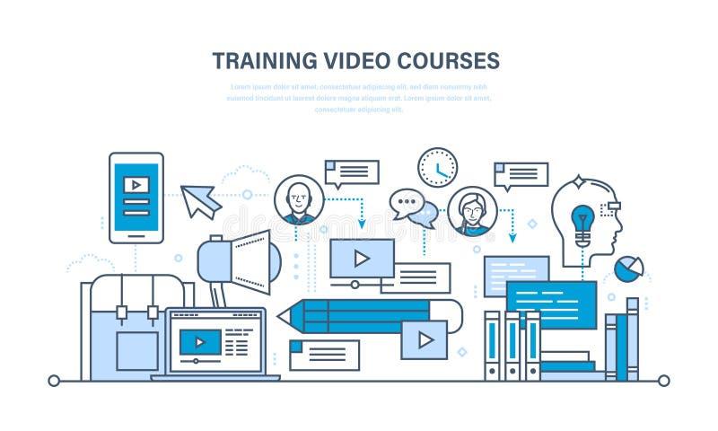 Onderwijs, het leren technologieën, verre online videocursussen, mededelingen, trainingsprogramma's stock illustratie