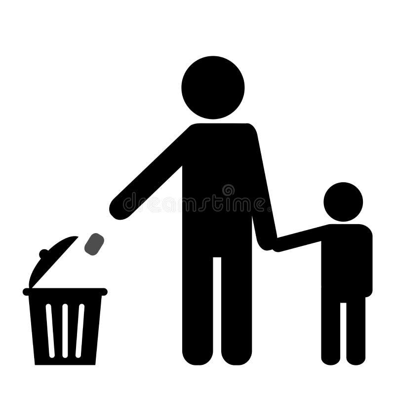 Onderwijs hoe te om sampat in het afval te dumpen vector illustratie