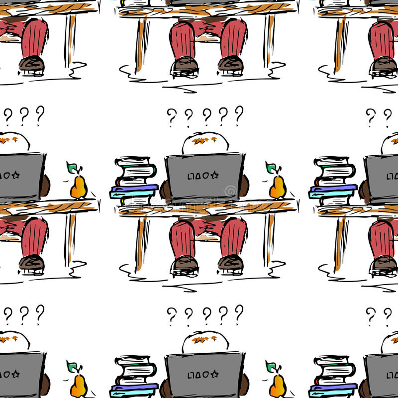 Onderwijs illustratie Mensen op het werk Studie, zitting, bibliotheek, het studentenleven Naadloos patroon royalty-vrije illustratie