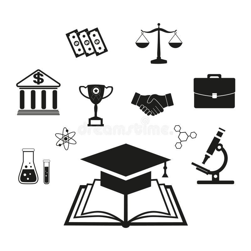 Onderwijs infographic elementen die studenten leren Open kennisboek, terug naar school, diverse het onderwijsmaterialen, efficiën royalty-vrije illustratie