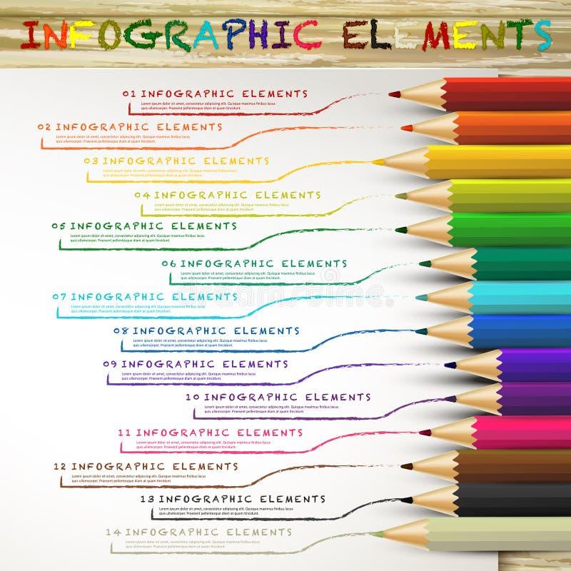Onderwijs infographic met kleurrijke potloden die lijnen trekken vector illustratie