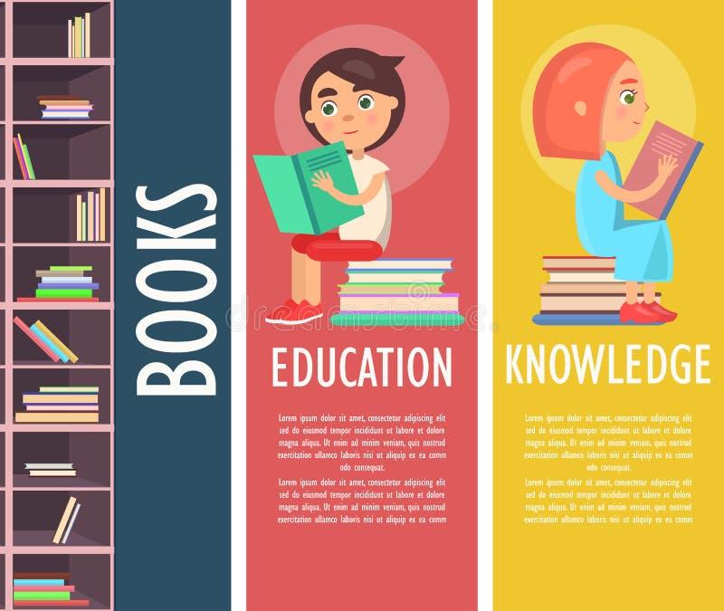 Onderwijs, Kennis en Boeken in Bruine Boekenkast vector illustratie