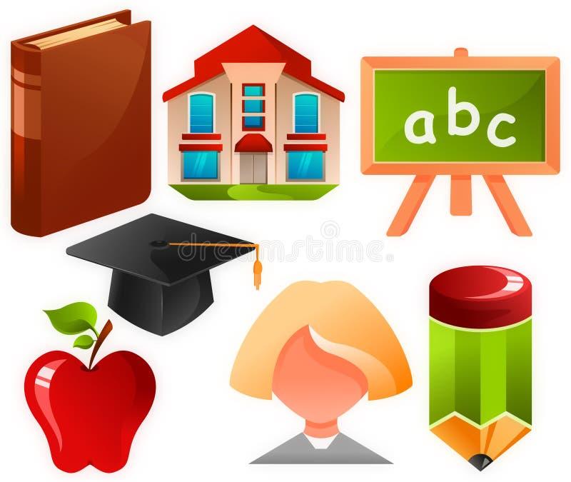Onderwijs pictogrammen stock illustratie