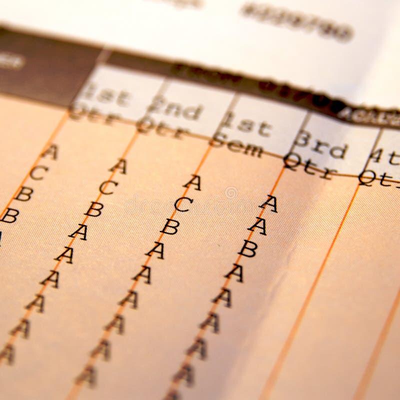 Onderwijs schoolrapport stock fotografie