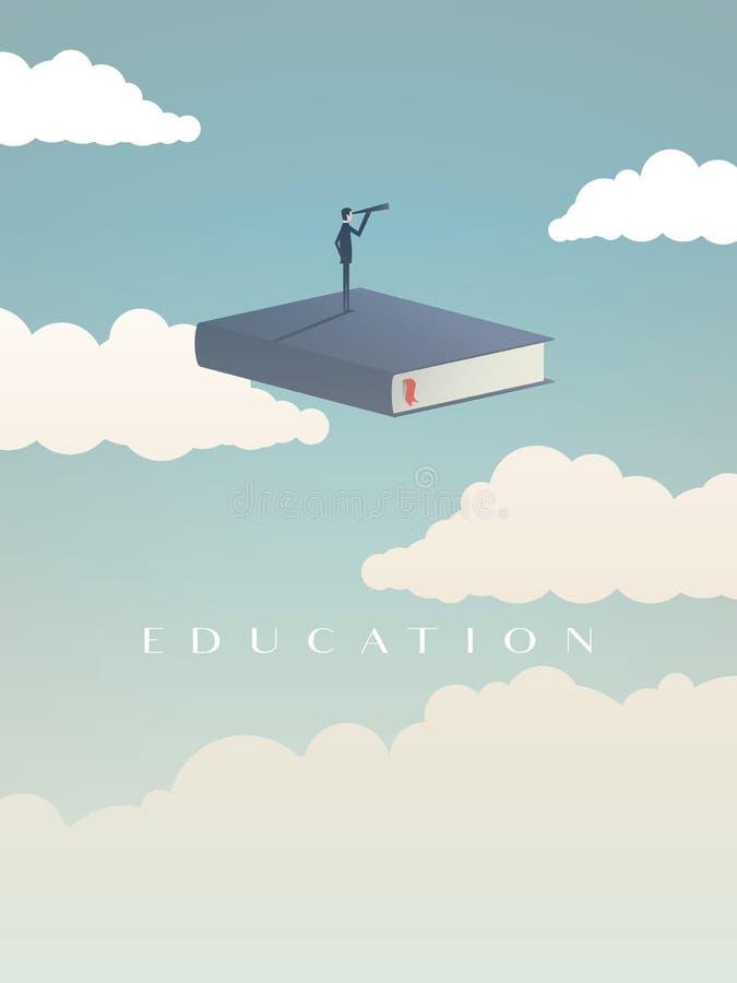 Onderwijs vectorconcept Zakenman of student die zich op boek bevinden, die in de hemel vliegen, die toekomst bekijken Symbool van stock illustratie