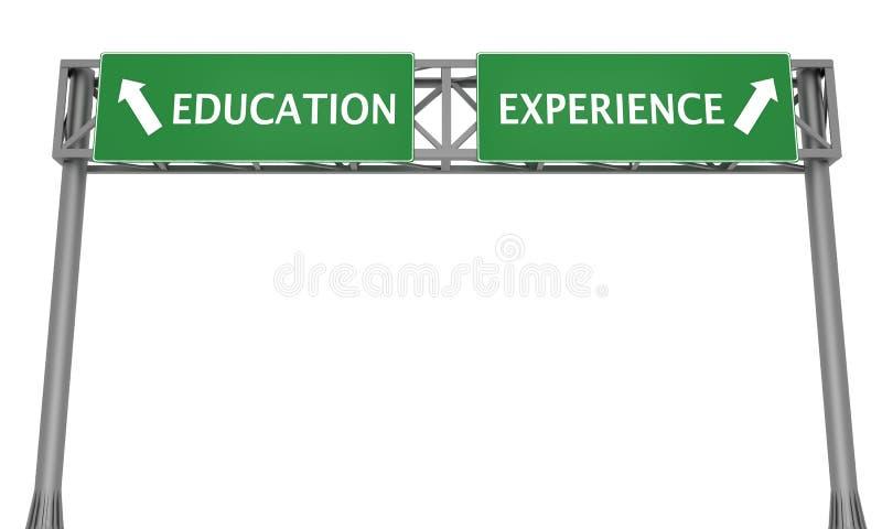 Onderwijs versus Ervaring stock illustratie