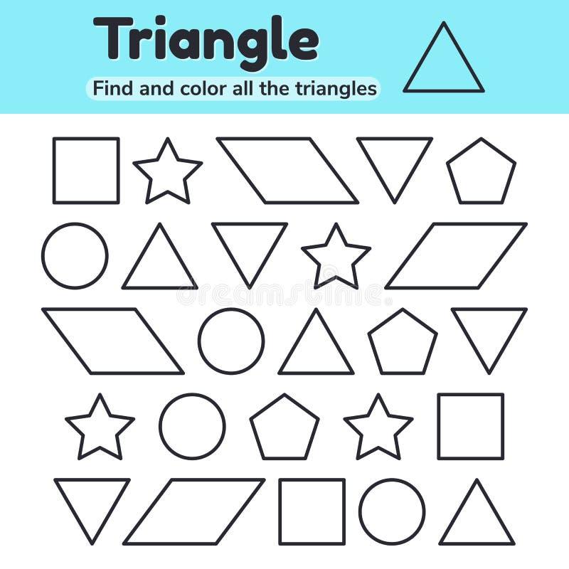 Onderwijsaantekenvel voor van de van de jonge geitjeskleuterschool, kleuterschool en school leeftijd Geometrische vormen Driehoek stock illustratie