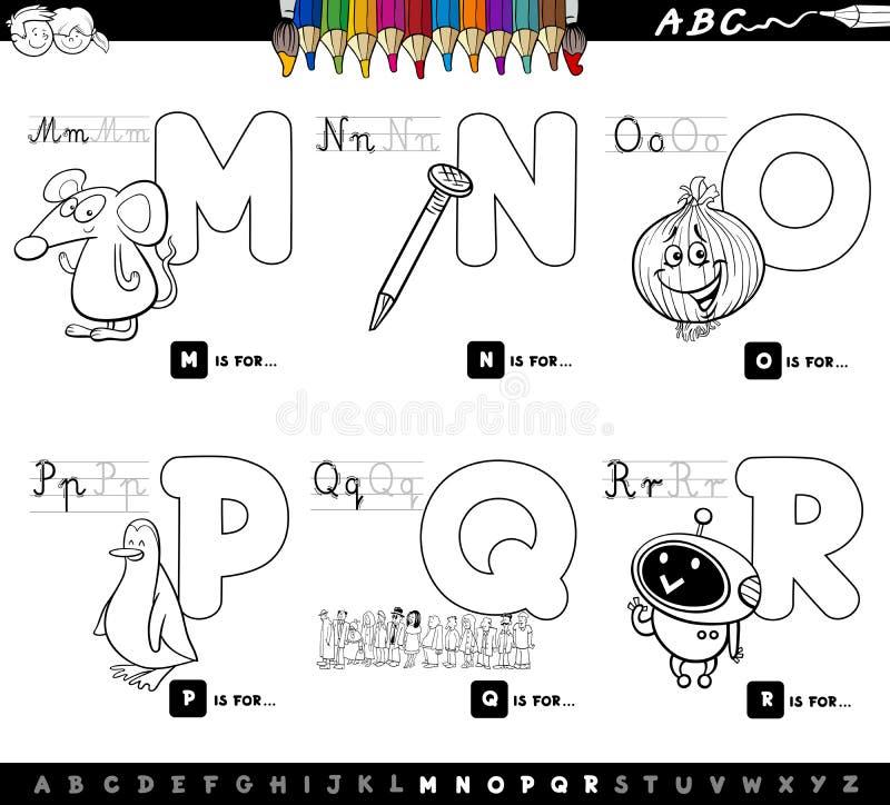 Onderwijsalfabetbrieven geplaatst kleurenboek vector illustratie