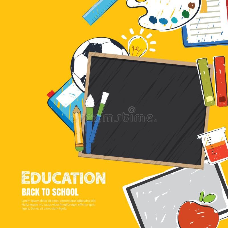 Onderwijsbanner en terug naar school achtergrondmalplaatje vector illustratie