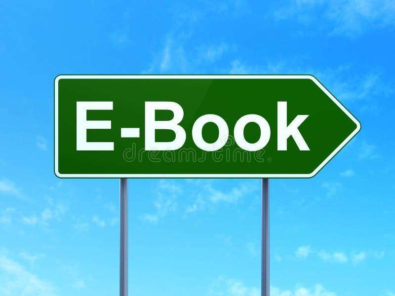 Onderwijsconcept: EBook op verkeerstekenachtergrond stock illustratie