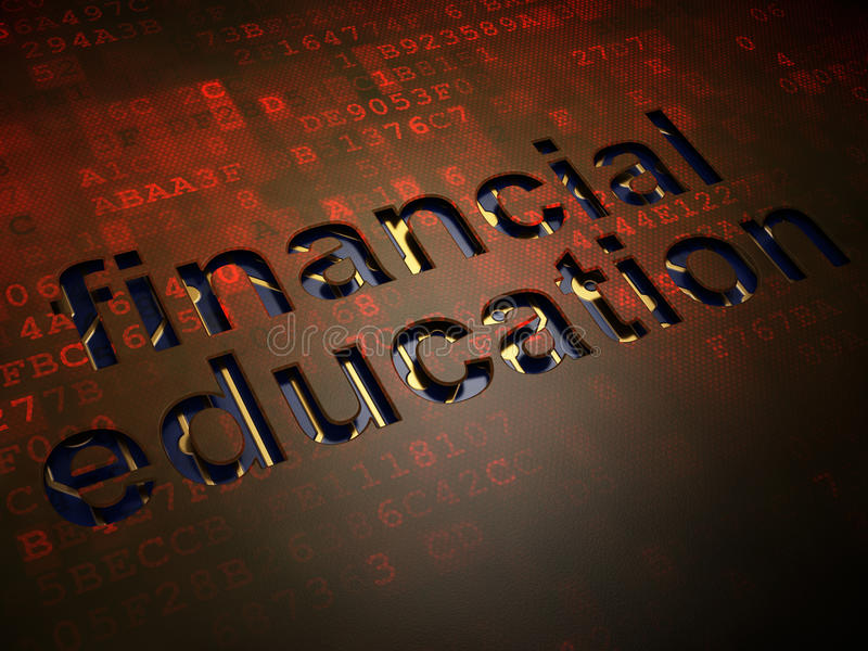 Onderwijsconcept: Financieel Onderwijs op digitale het schermachtergrond stock afbeeldingen