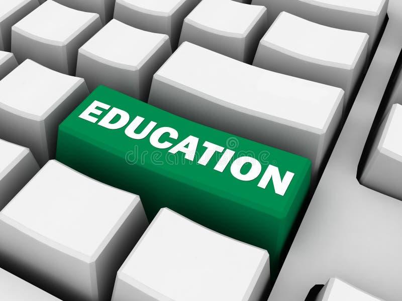 Onderwijsconcept, groene hoofdlettertoets stock foto