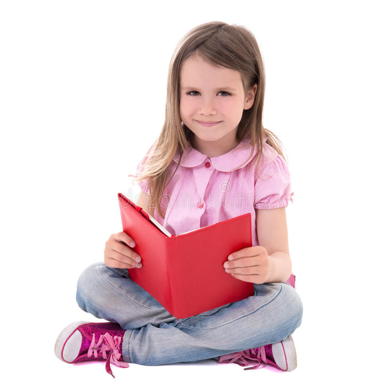 Onderwijsconcept - het leuke die boek van de meisjelezing op wh wordt geïsoleerd royalty-vrije stock foto
