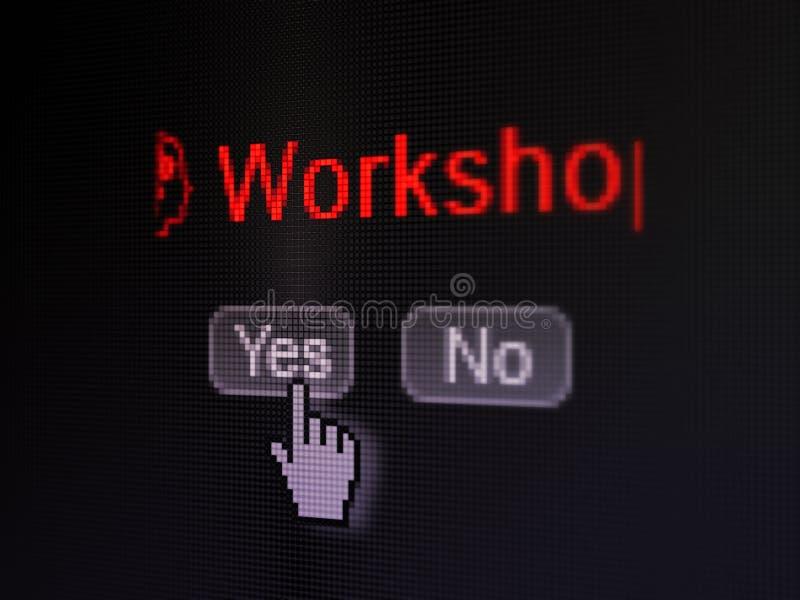 Onderwijsconcept: Hoofd met Toestellenpictogram en Workshop over het digitale computerscherm royalty-vrije stock foto