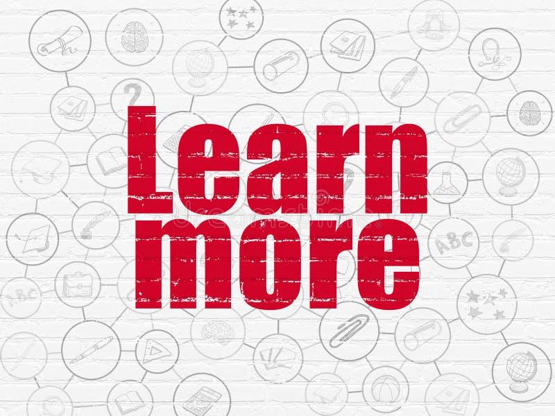 Onderwijsconcept: Leer meer op muurachtergrond stock illustratie