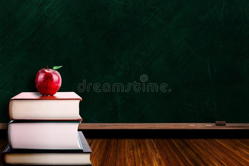 Onderwijsconcept met Apple op Boeken en Bordachtergrond vector illustratie