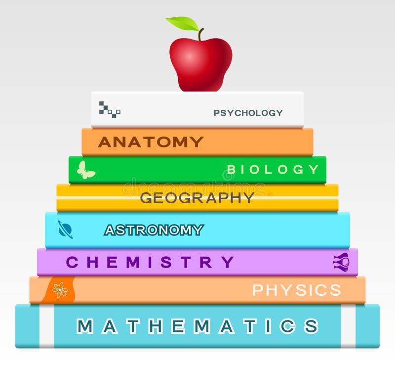 Onderwijsconcept met boeken en appel stock illustratie
