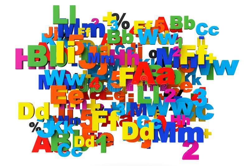 Onderwijsconcept. Multicolored letters en getallen vector illustratie