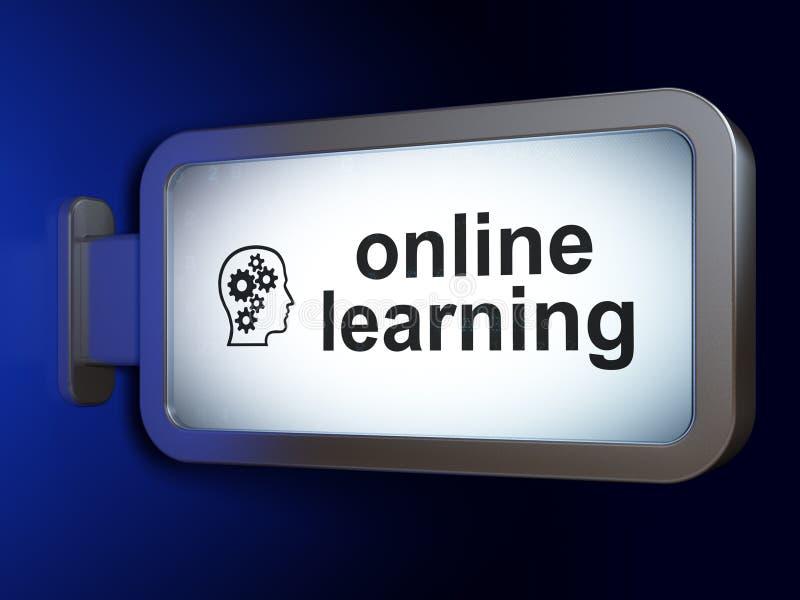 Onderwijsconcept: Online het Leren en Hoofd met Toestellen op billbo stock foto