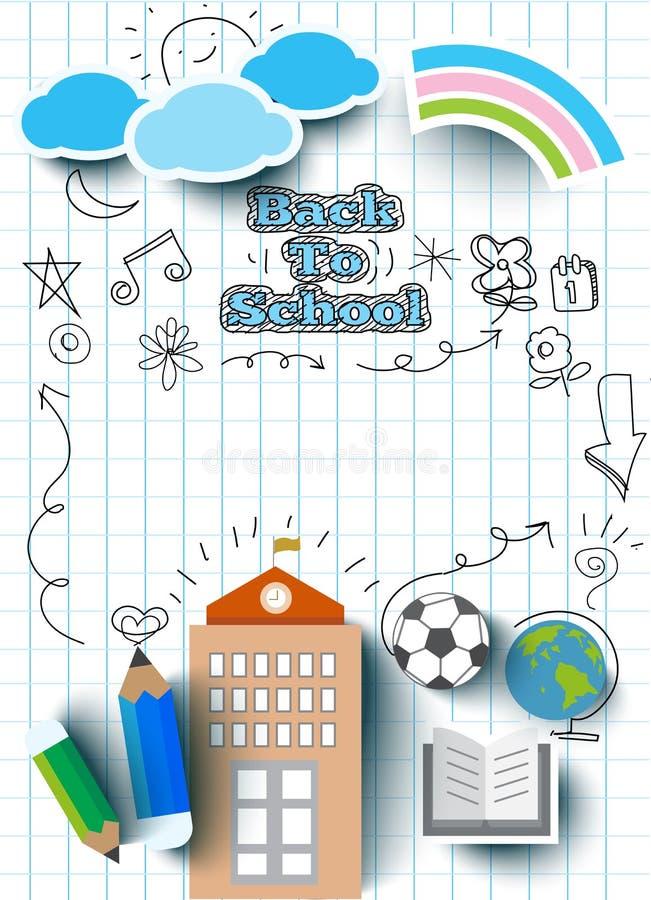 Onderwijsconcept, terug naar schoolbanner, vlakke pictogramstijl vector illustratie
