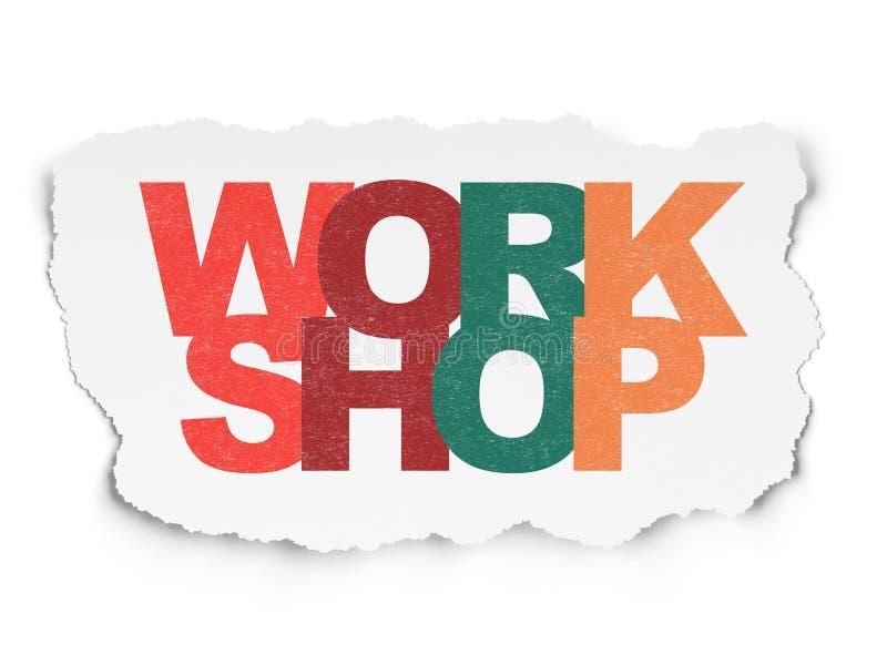 Onderwijsconcept: Workshop over Gescheurd Document royalty-vrije stock foto's