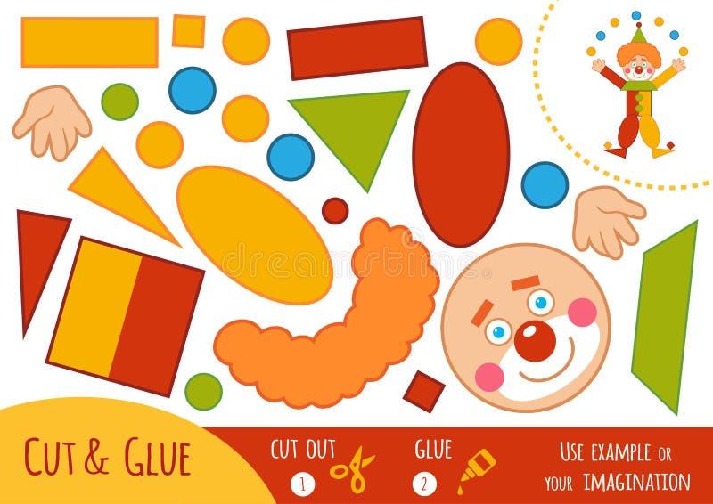 Onderwijsdocument spel, Clown Gebruiksschaar en lijm om het beeld tot stand te brengen royalty-vrije illustratie