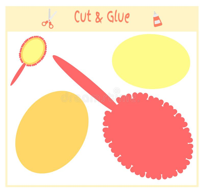 Onderwijsdocument spel voor de ontwikkeling van peuterkinderen Besnoeiingsdelen van het beeld en de lijm op het document Vector vector illustratie
