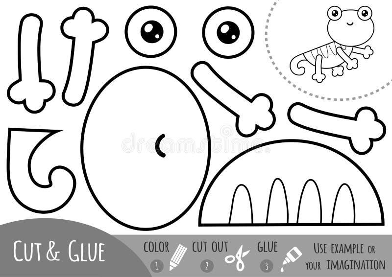 Onderwijsdocument spel voor kinderen, Hagedis vector illustratie