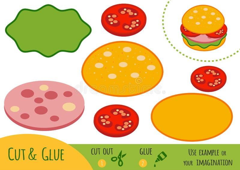 Onderwijsdocument spel voor kinderen, Hamburger stock illustratie