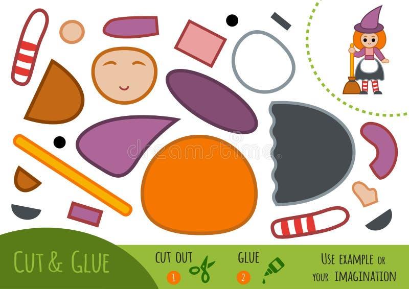 Onderwijsdocument spel voor kinderen, Heks vector illustratie