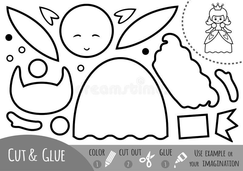 Onderwijsdocument spel voor kinderen, Prinses stock illustratie