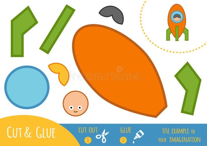 Onderwijsdocument spel voor kinderen, Ruimteschip vector illustratie