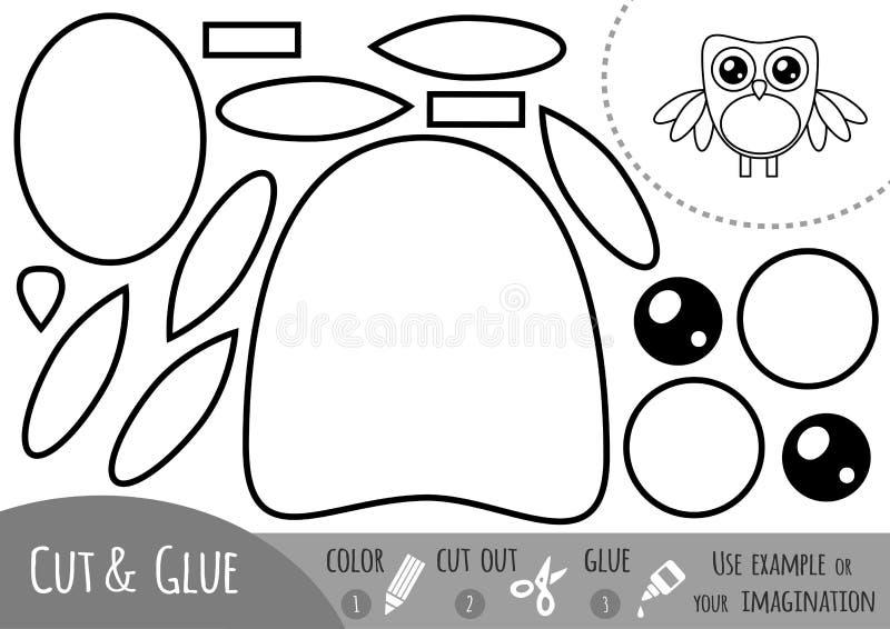 Onderwijsdocument spel voor kinderen, Uil royalty-vrije illustratie