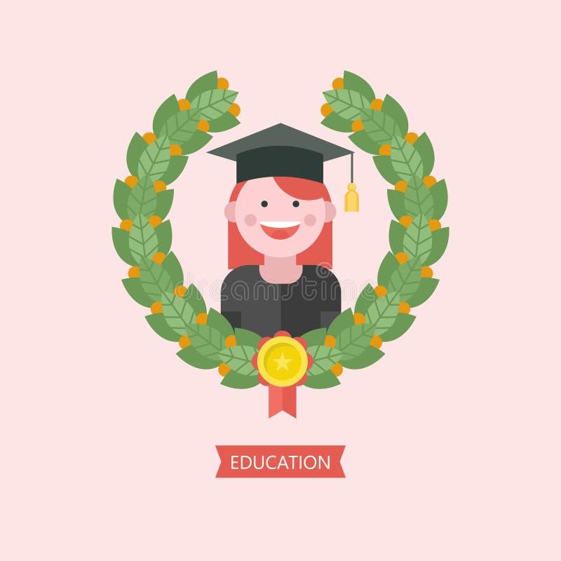 Onderwijsembleem Embleem van onderwijsinstelling, school, Colle stock illustratie